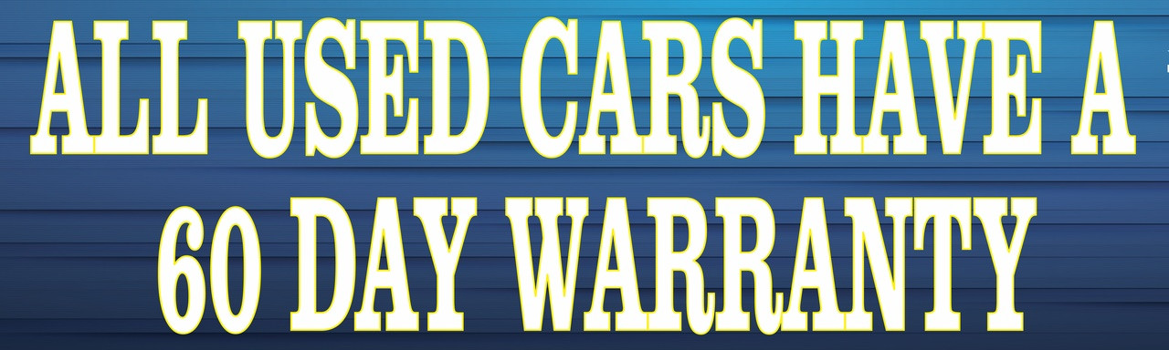 All Cars have a 60 Day Warranty car dealer banner.