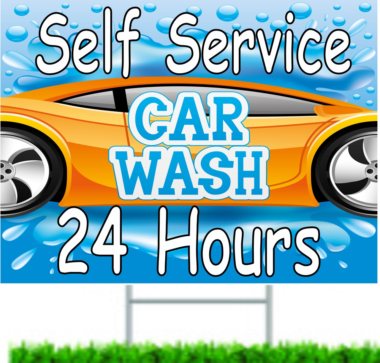 Self Service Car Wash Yard Signs
