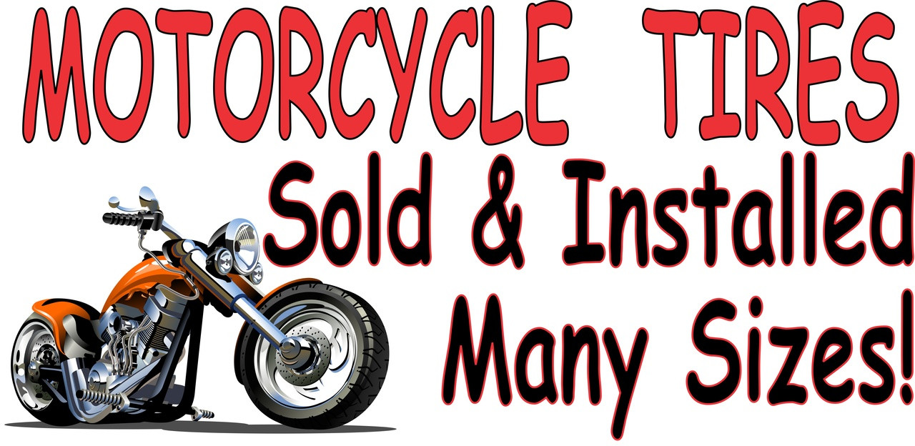 Motorcycle Tires in Many Sizes Banner.