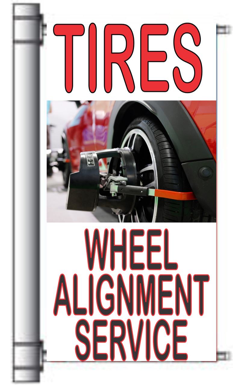 Tire & Wheel Alignment Service Light Pole Banner