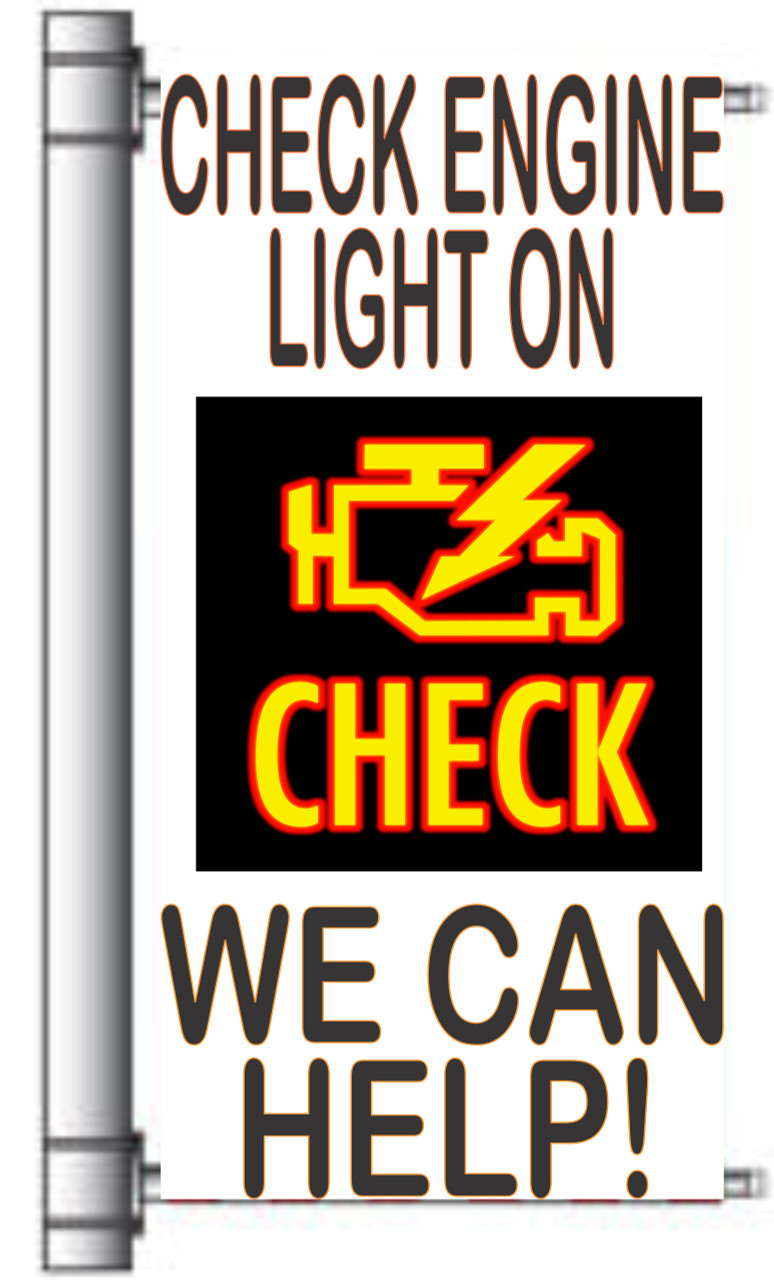 Check Engine Light On light Pole banner for Car Repair Shops.