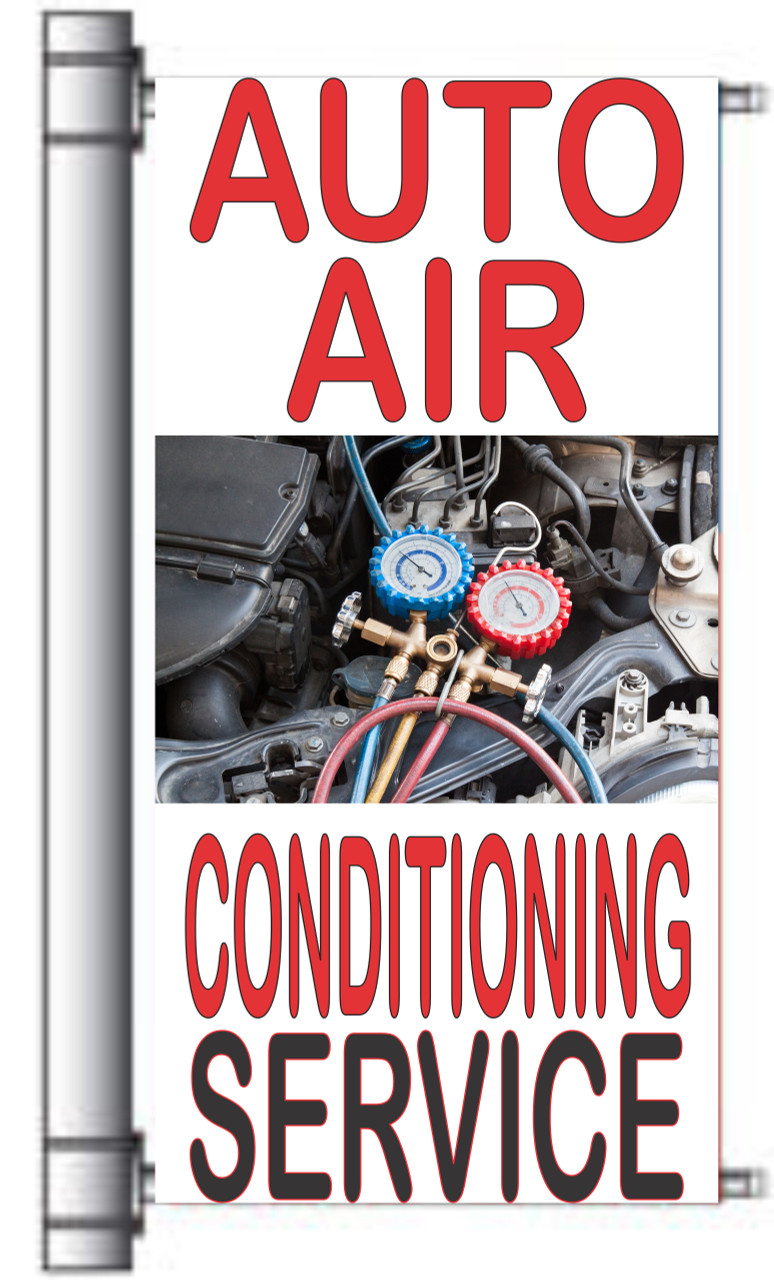 Auto Air Conditioning Service Light Pole Banner Nice for Repair Shop.