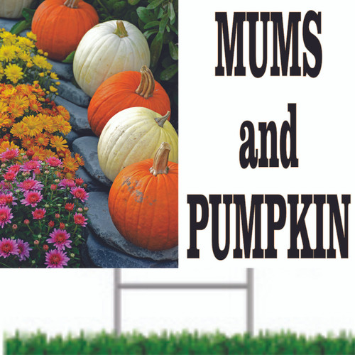 Invite Customers In With this Very Colorful Mums & Pumpkins Road Sign.