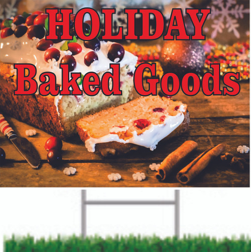 Holiday Baked Goods Great Produce Yard Sign.