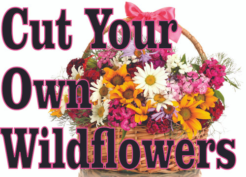 Cut your Own Wildflowers Banner is Inviting to Passing Traffic.