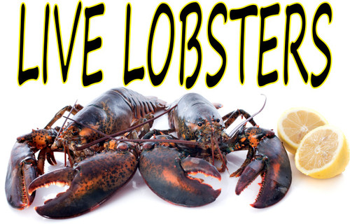Shop here at stop the traffic for live lobster banners and seafood yard signs we offer many seafood signs for you to consider.