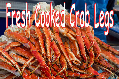 Big pile of crab legs in full color by stop the traffic will get you noticed.