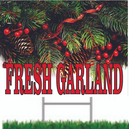 Fresh Garland Road/Yard Sign Christmas Sign.