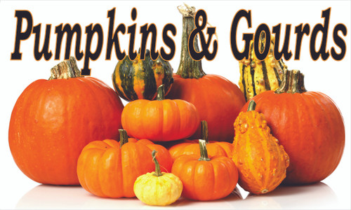Pumpkins and Gourds colorful fall banner.
