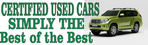 Certified Used Cars Simply The Best of the Best Auto Banner.