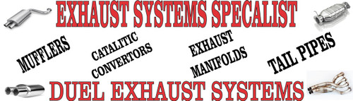 Auto Repair Banners, Exhaust Systems Banner auto repair service banners invite potential customers in.