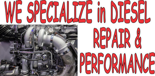 We Specialize in Diesel Repair truck repair banner.