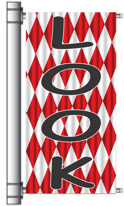 Look Automotive pole banner for used dealer lot.
