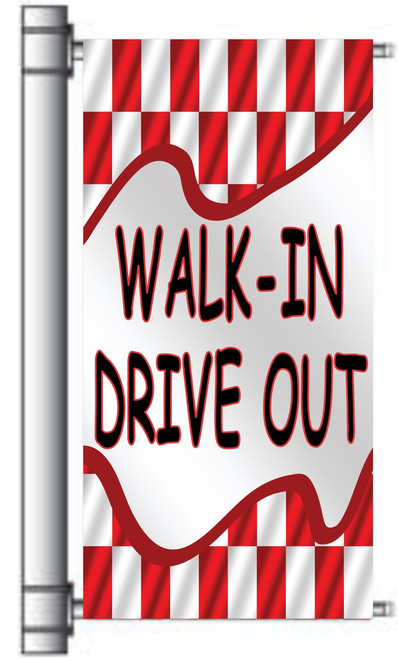 Walk-In Drive Out used car dealer pole banner.