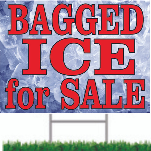 Bagged ice for Sale Yard/Road Sign