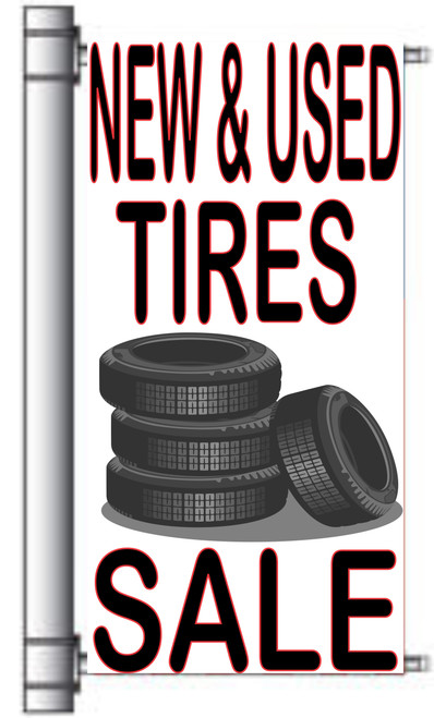 New & Used Tires Sale Light Pole Banner.