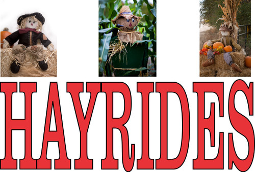 Hayrides with Three Scarecrows