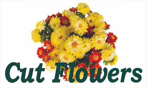 Produce Banner - Cut Flowers is a colorful farm stand banner.