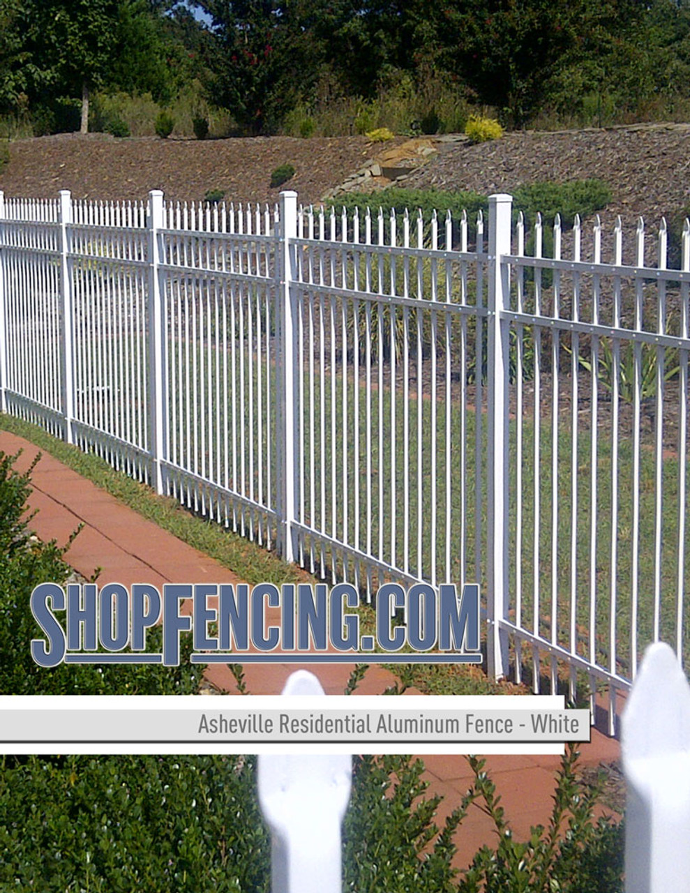 White Residential Asheville Aluminum Fencing From ShopFencing.com