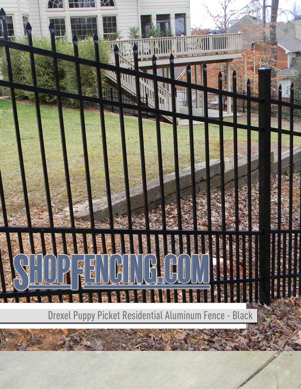 Drexel Residential Aluminum Fence Section - Alternating Spear Picket Top