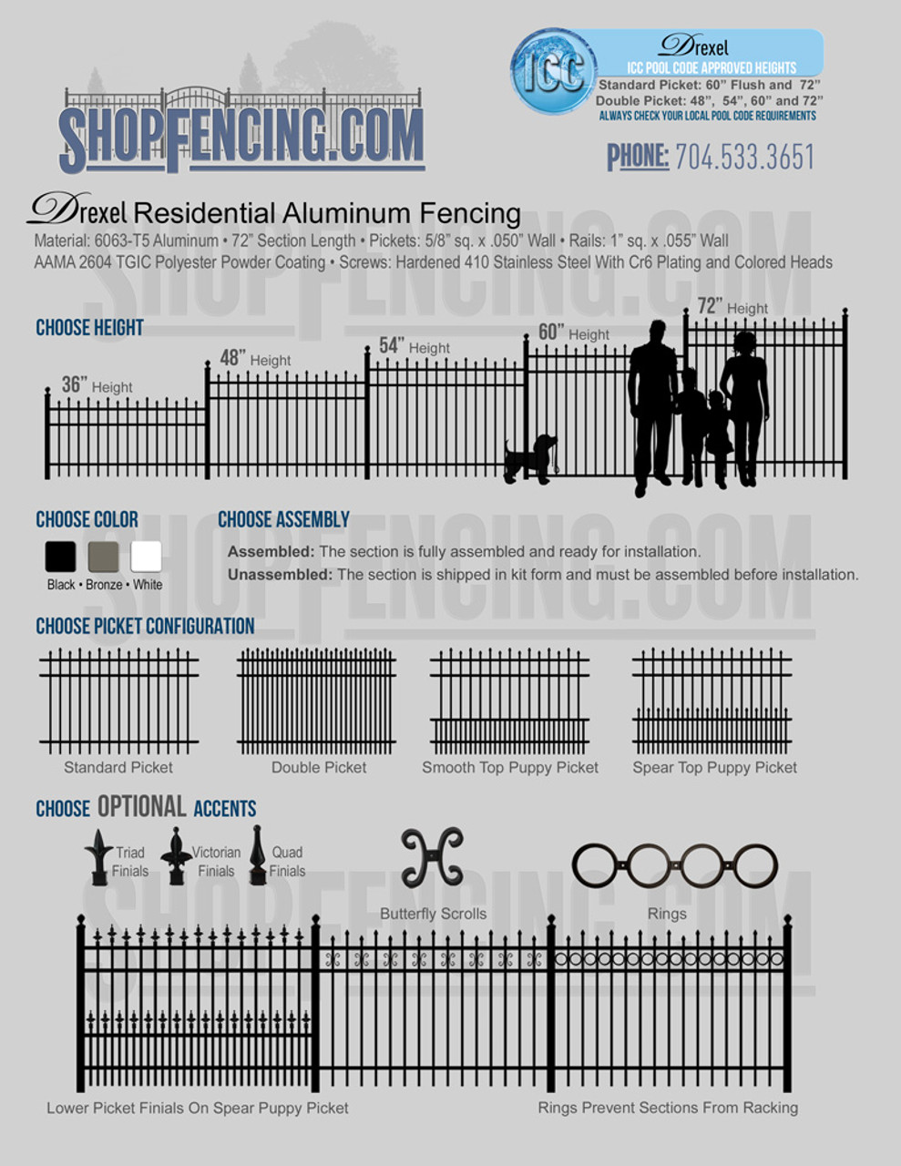 Drexel Residential Aluminum Fencing From ShopFencing.com