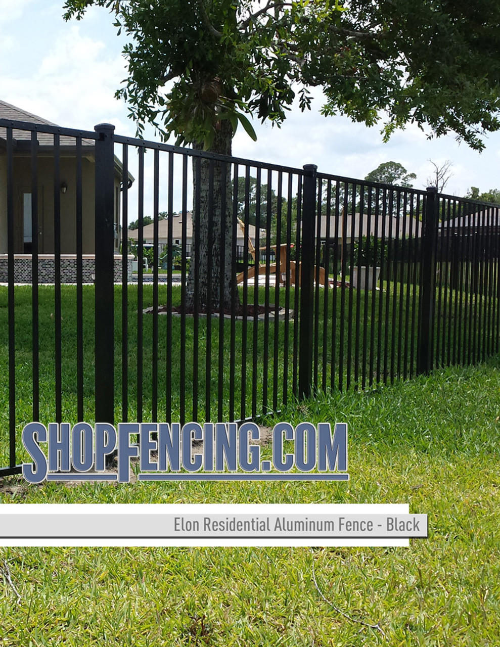 Elon Residential Aluminum Fence Section - Two Rail Smooth Top
