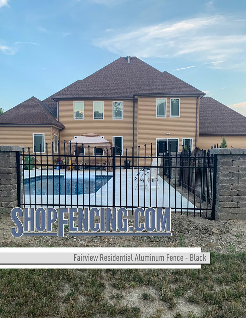 Black Residential Fairview Aluminum Fencing From ShopFencing.com