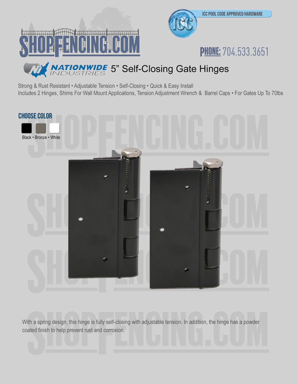 """5"""" Self-Closing Gate Hinge"""