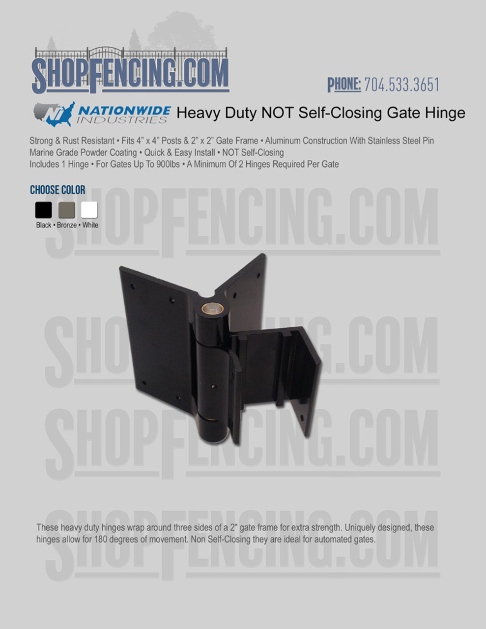 Heavy Duty NOT Self-Closing Gate Hinge