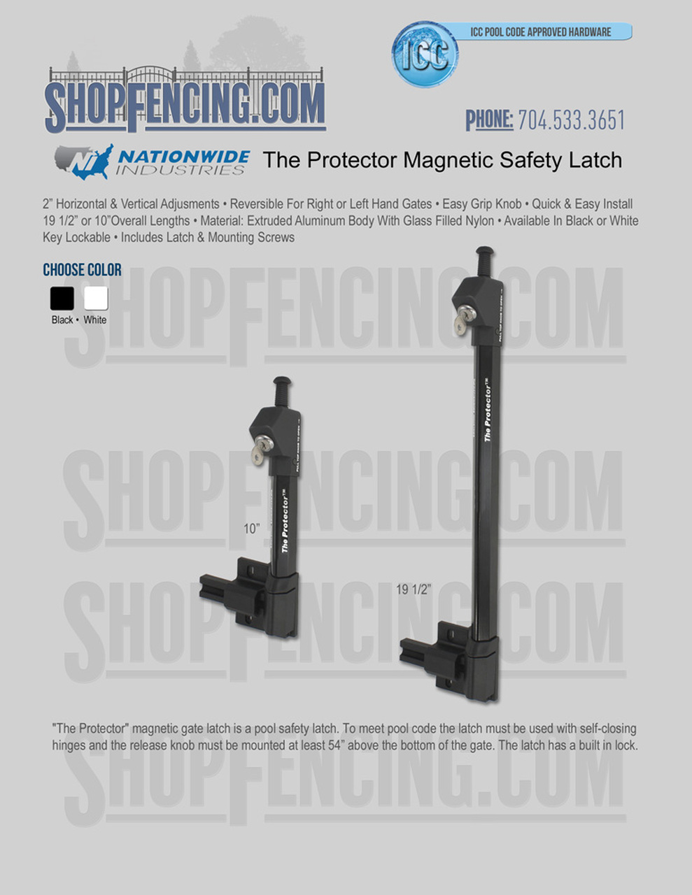 Nationwide Industries Magnetic Safety Gate Latch