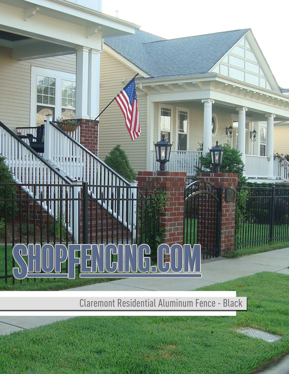 Black Residential Claremont Aluminum Fencing From ShopFencing.com