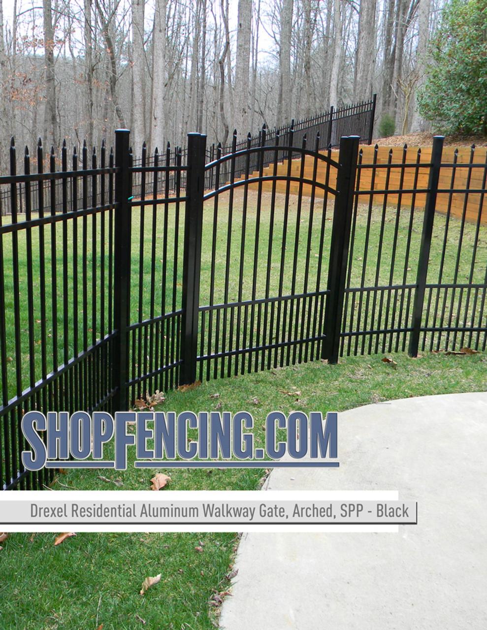 Black Residential Drexel Aluminum Walkway Gate From ShopFencing.com