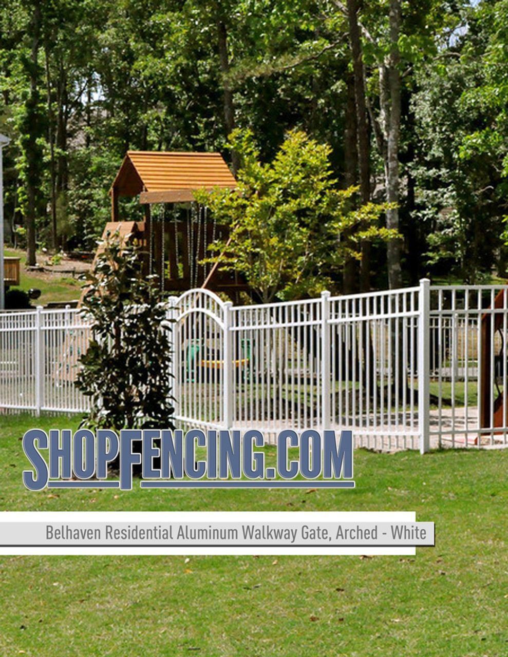 White Residential Belhaven Aluminum Walkway Gate From ShopFencing.com