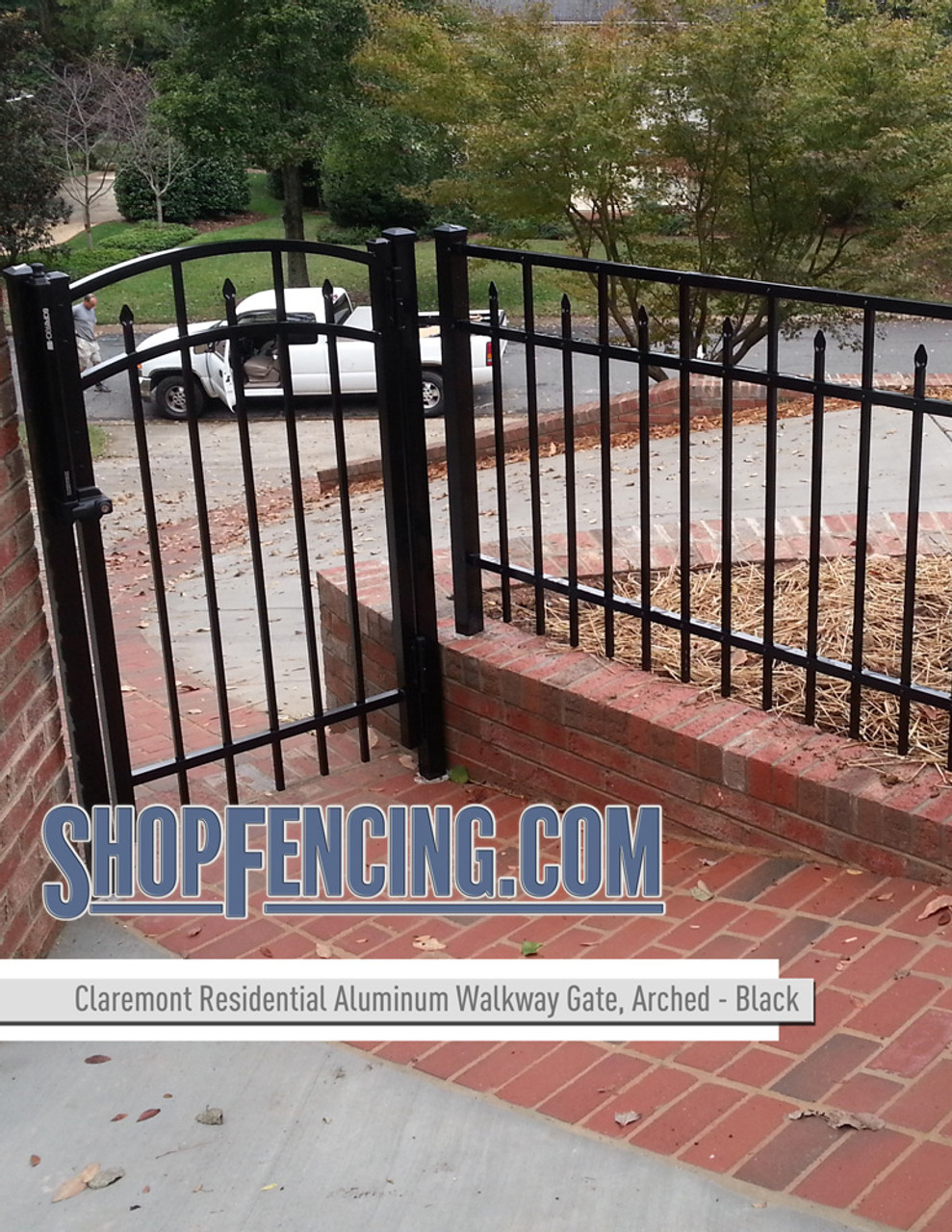 Black Residential Claremont Aluminum Walkway Gate From ShopFencing.com
