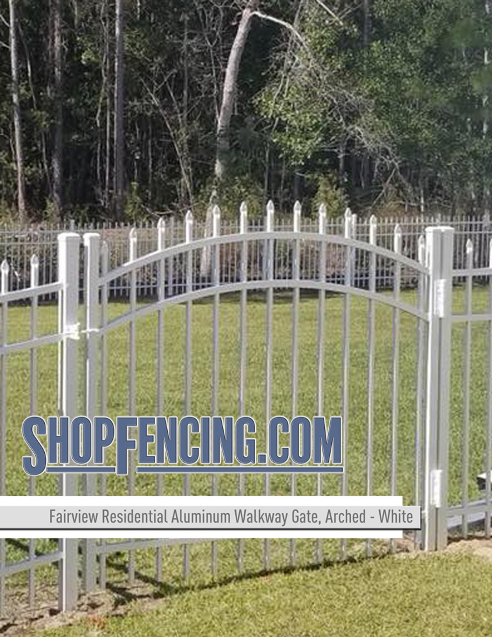 White Residential Fairview Aluminum Walkway Gate From ShopFencing.com