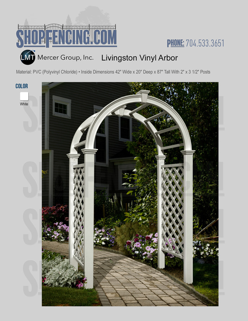 Vinyl Livingston Arbor From ShopFencing.com