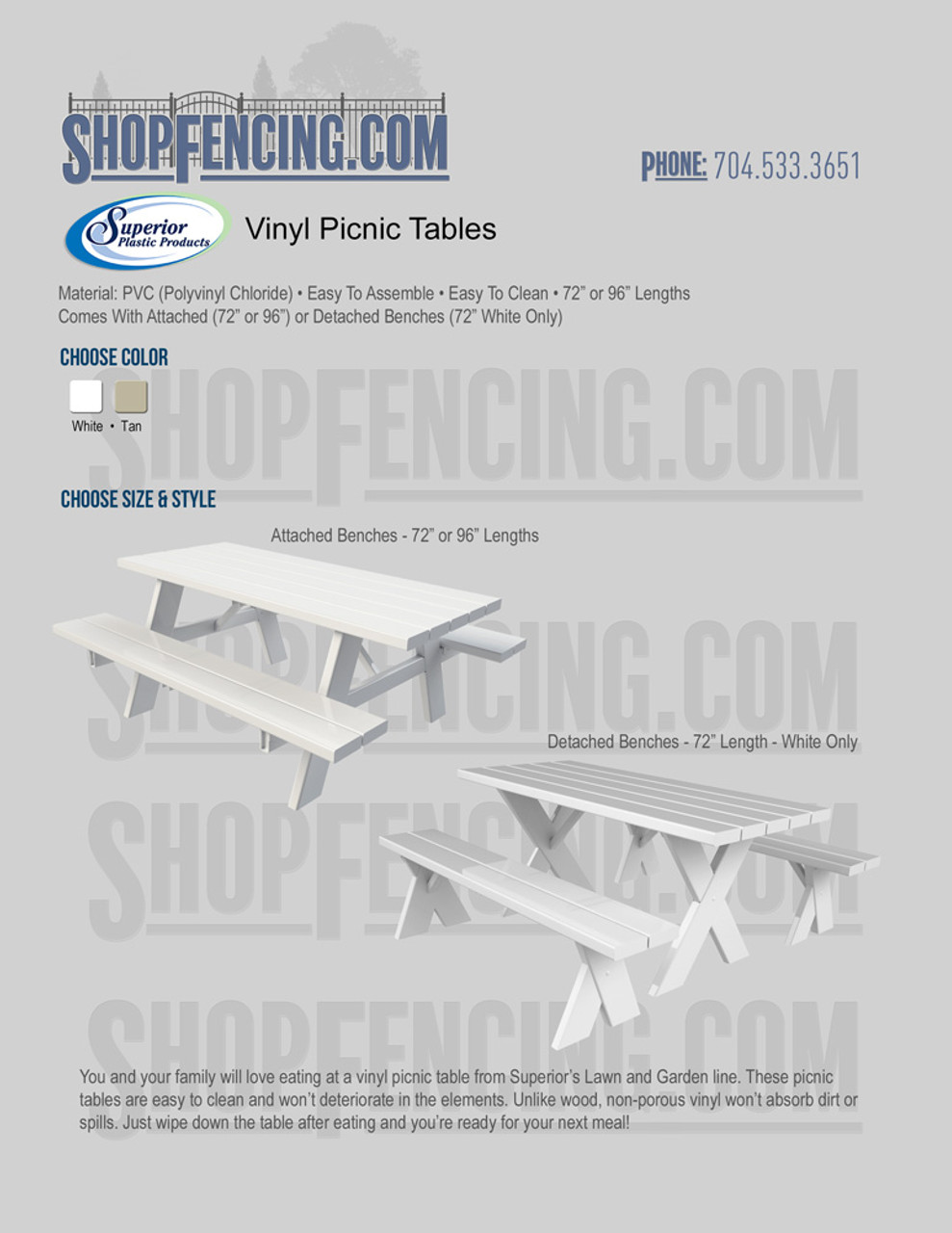 Vinyl Picnic Tables From ShopFencing.com