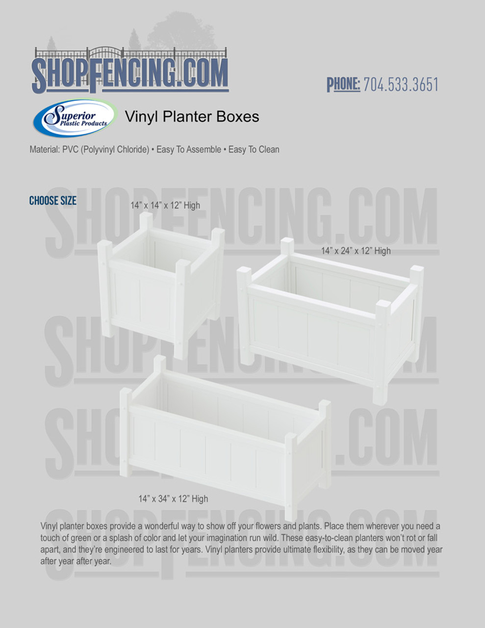 Vinyl Planter Boxes From ShopFencing.com