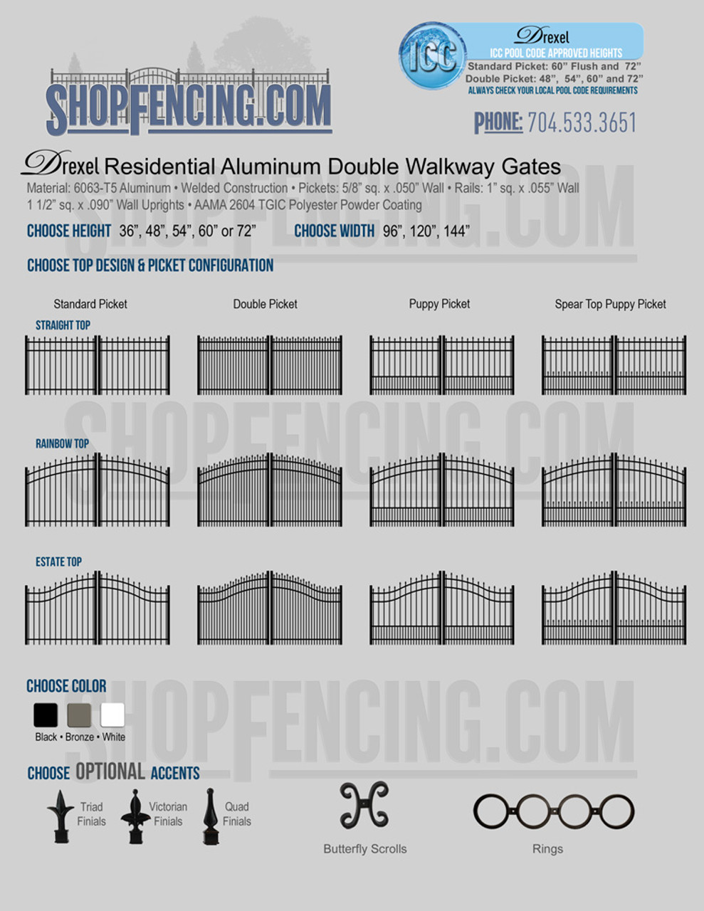 Residential Drexel Aluminum Double Walkway Gates From ShopFencing.com