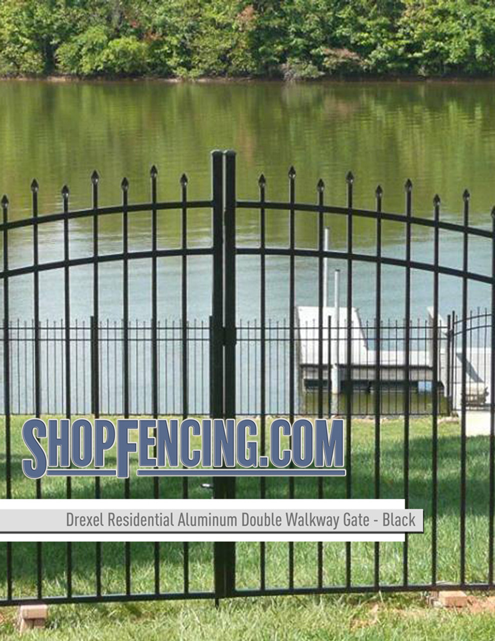 Residential Drexel Aluminum Double Walkway Gate - Rainbow Arch From ShopFencing.com