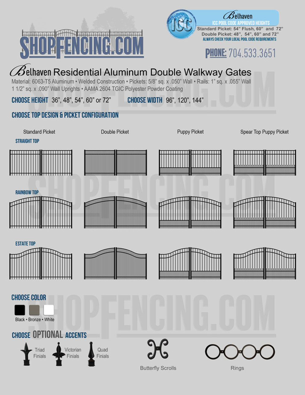 Residential Belhaven Aluminum Double Walkway Gates From ShopFencing.com