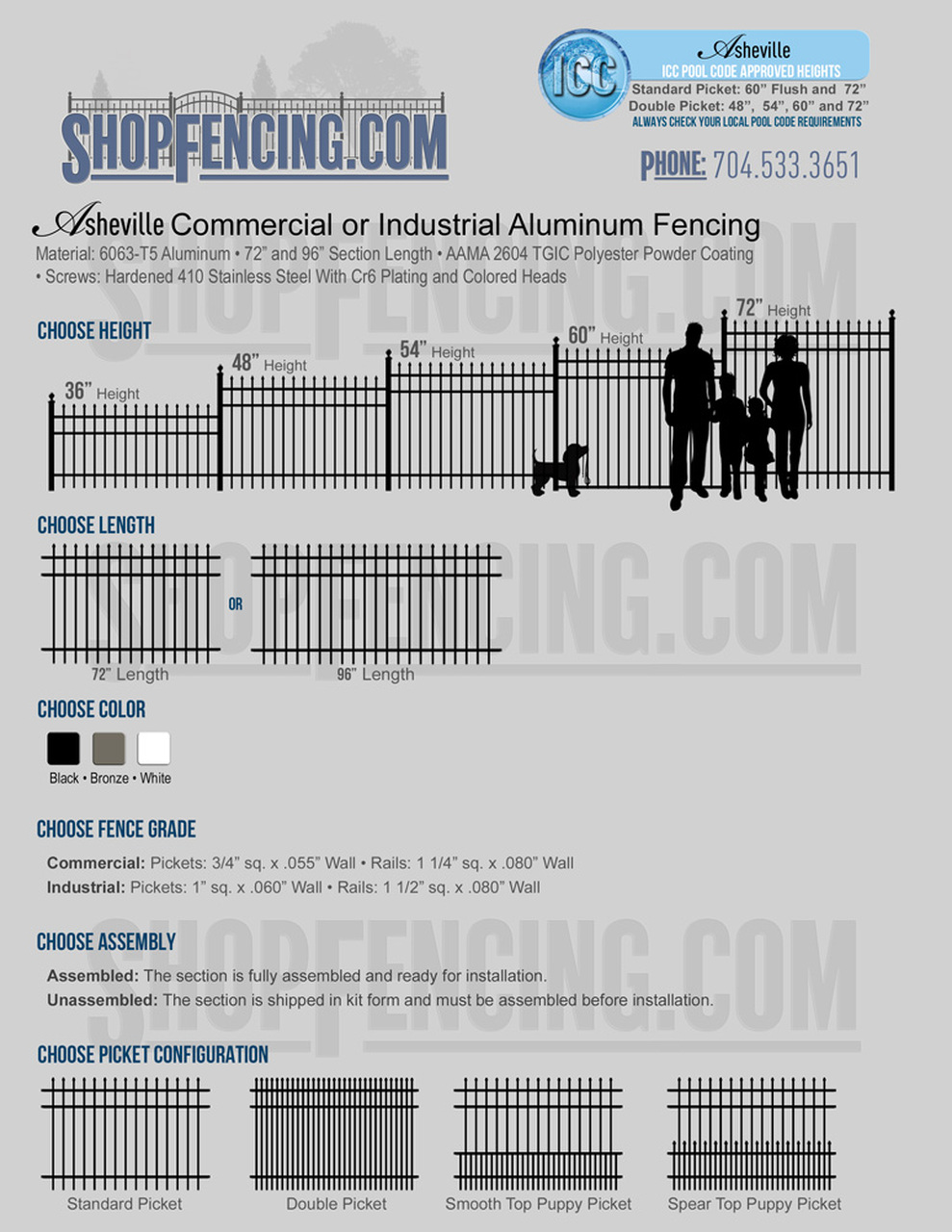 Commercial or Industrial Asheville Aluminum Fencing From ShopFencing.com