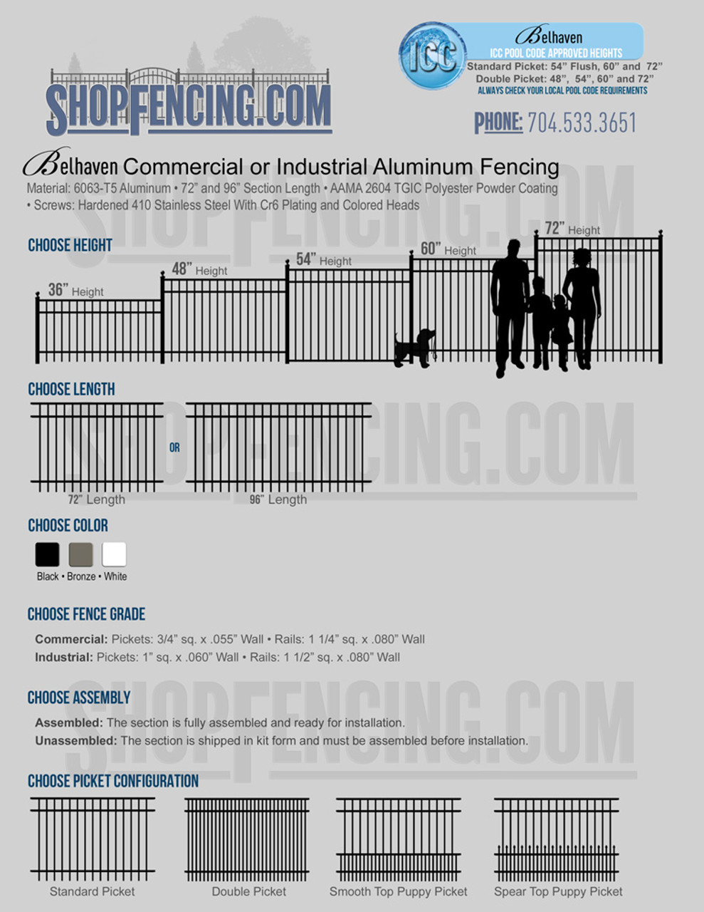 Commercial or Industrial Belhaven Aluminum Fencing From ShopFencing.com