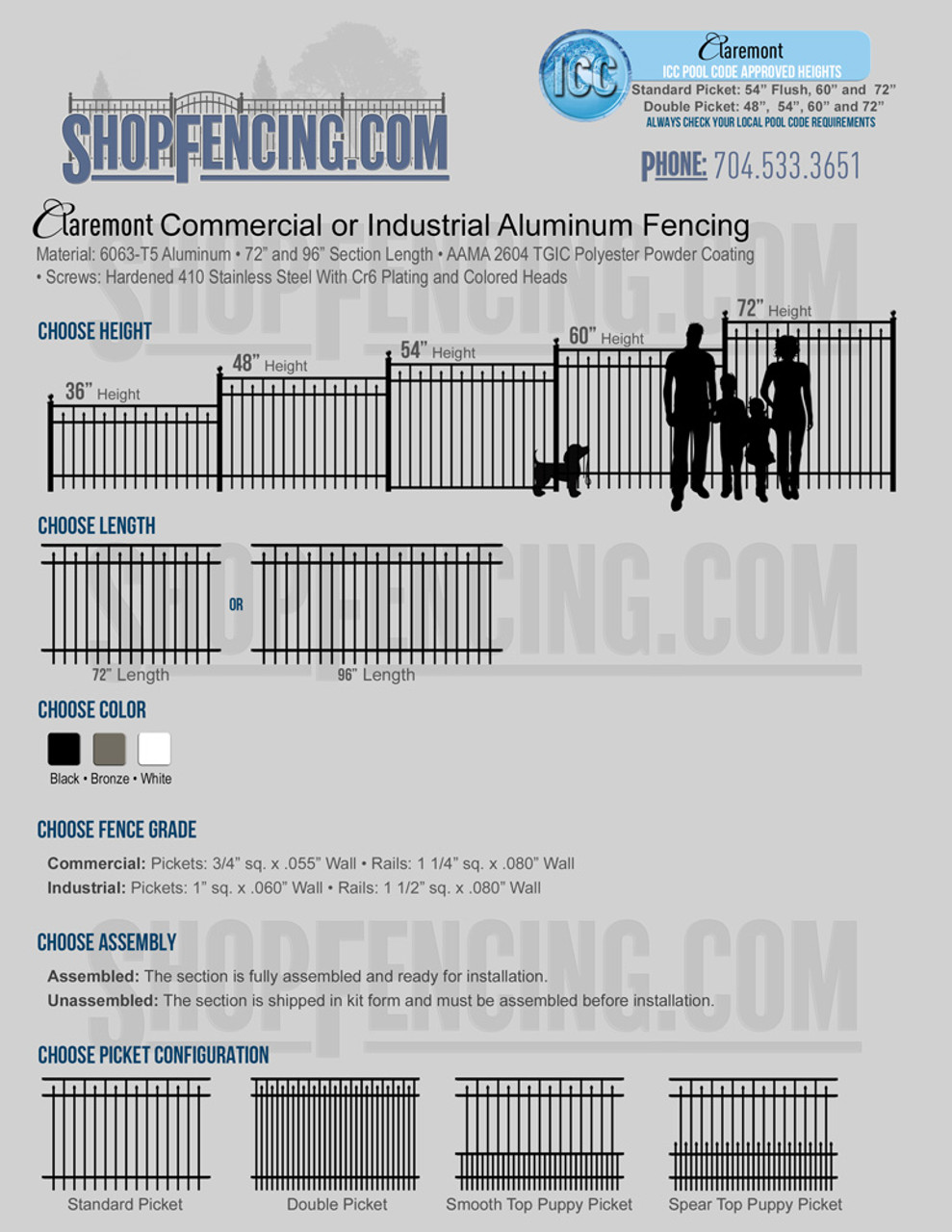 Commercial or Industrial Claremont Aluminum Fencing From ShopFencing.com