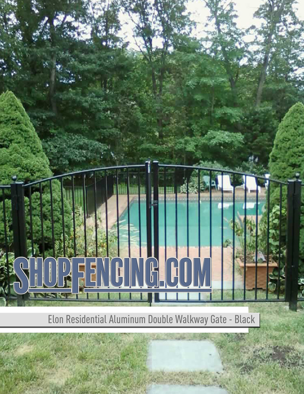 Residential Elon Aluminum Double Walkway Gate - Rainbow Arch From ShopFencing.com