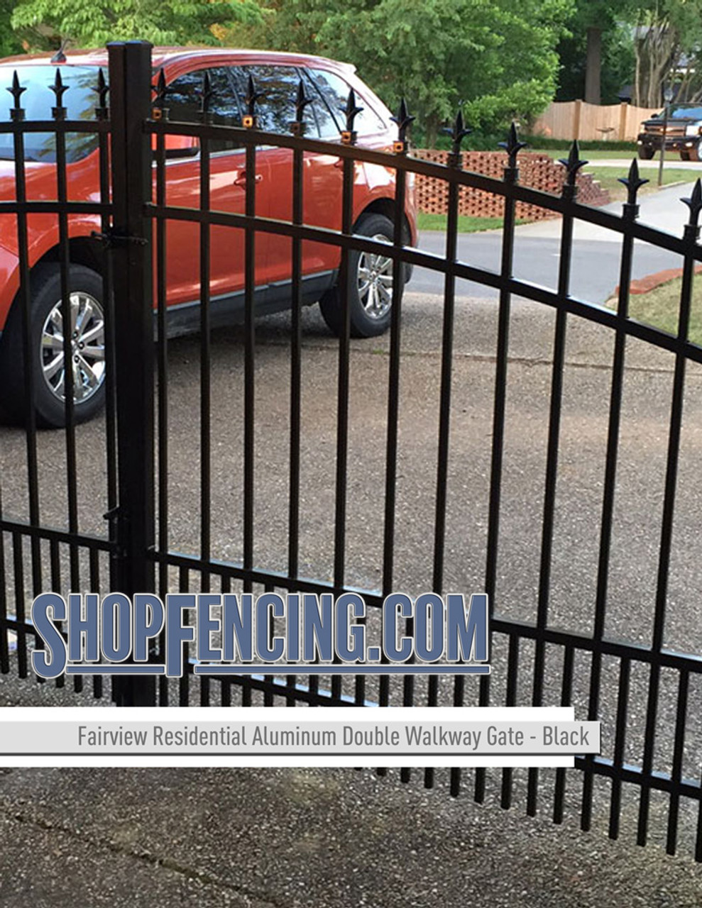 Residential Fairview Aluminum Double Walkway Gate - Rainbow Arch Puppy Picket From ShopFencing.com