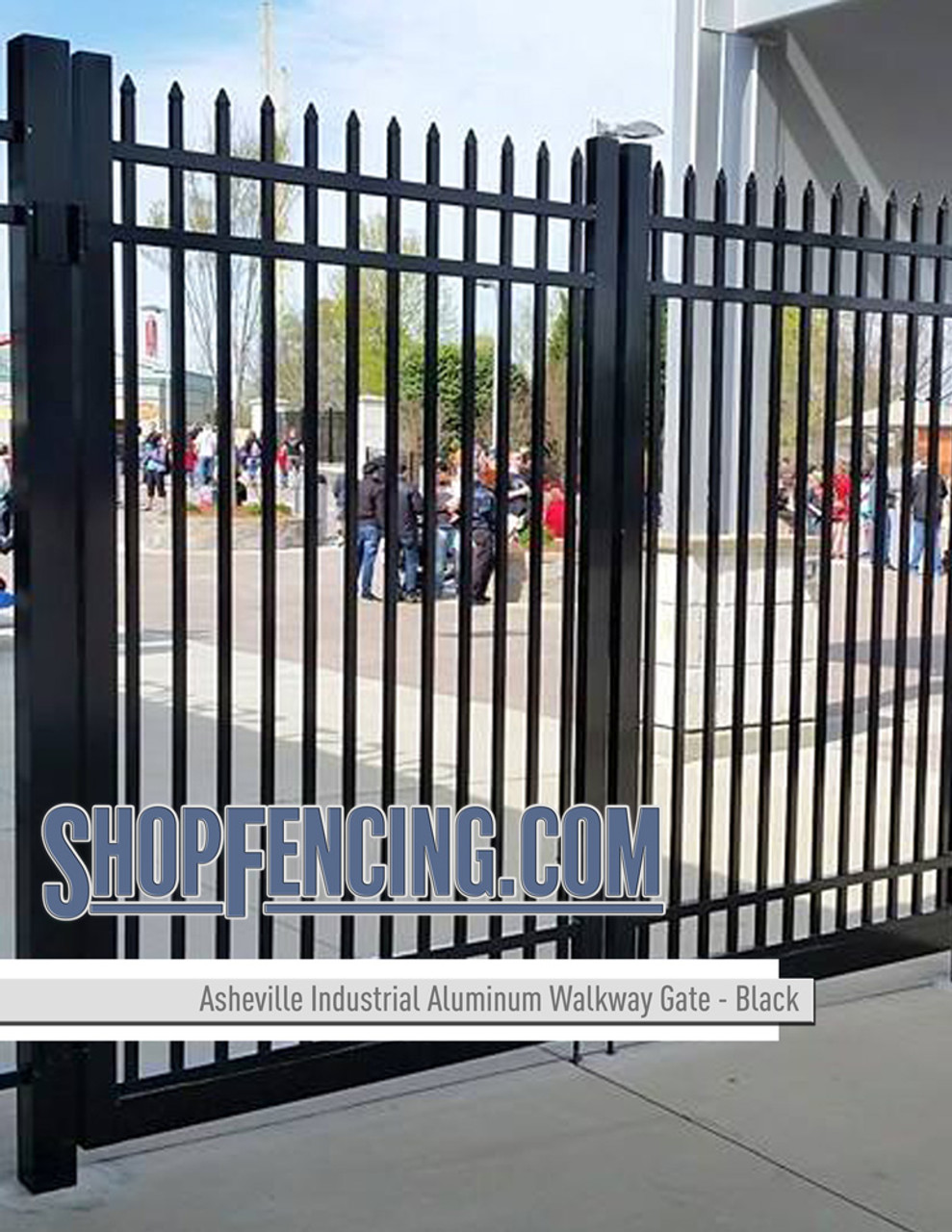 Black Industrial Asheville Aluminum Walkway Gates From ShopFencing.com
