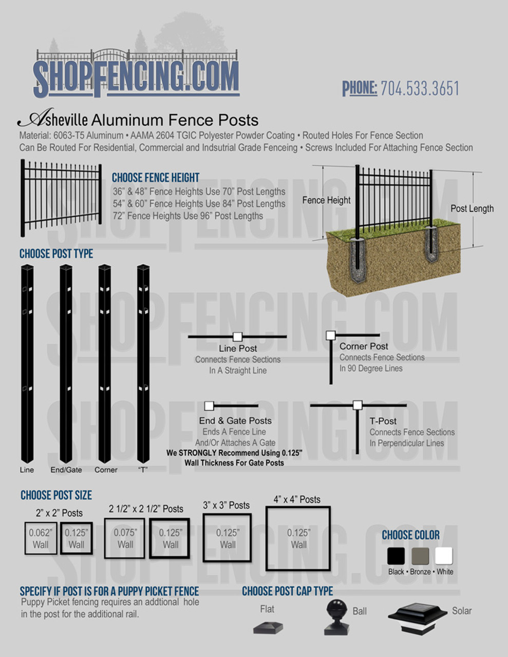 Aluminum Fence Posts For ASHEVILLE Fence Styles