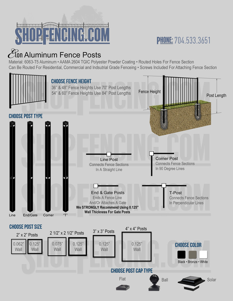 Aluminum Fence Posts For ELON Fence Styles
