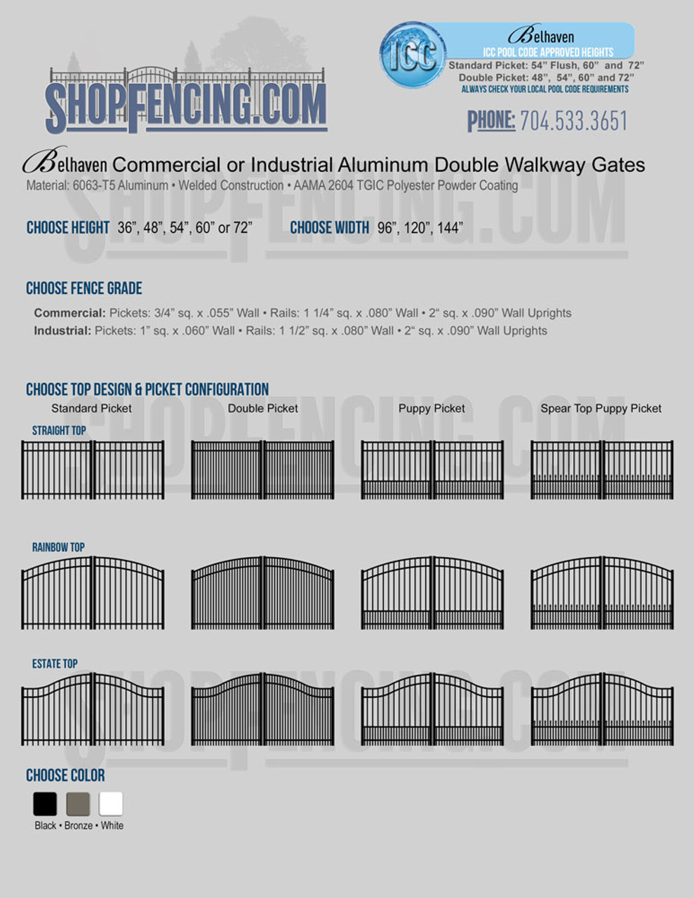Belhaven Commercial or Industrial Aluminum Double Walkway Gates - Smooth Top